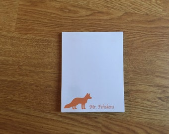 Personalized Notepad, Teacher Gift, Personalized gift, Custom Notepad, Parent NotePad, Fox Stationery