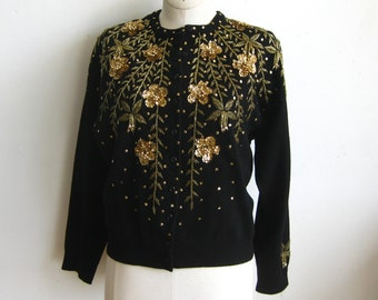 Vintage 50s Black Lambswool Blend Beaded Gold Sequins 3/4 Sleeve Cardigan Sweater