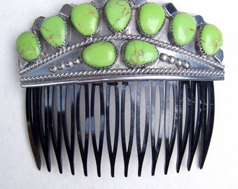 Vintage Navajo gaspeite hair comb Wilson Begay Native American hair accessory decorative comb hair jewelry hair ornament