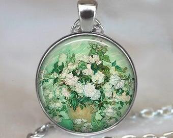 Pink Roses Van Gogh necklace, Van Gogh art pendant, Van Gogh Roses necklace, fine art pendant, flower pendant Van Gogh key ring, key chain