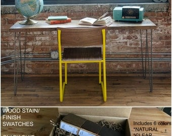 Mid Century Reclaimed Wood Desk with hairpin legs in pic one.  You choose leg style and from 6 wood finishes.