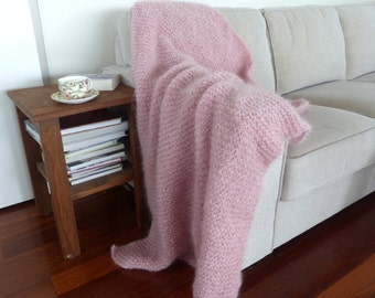 Pink blanket Pink Throw hand knit Mohair Afghan pink knee rug One of a Kind Kid mohair throw