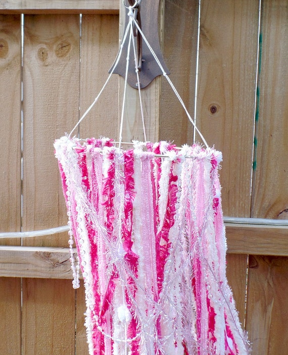 Pink Bohemian Yarn Mobile - Wall Hanging - Colorful - Pink and White - Free US Shipping