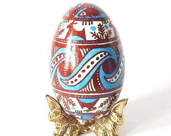 Gift for Father Trypillian Pysanka Ukrainian Easter egg  hand painted