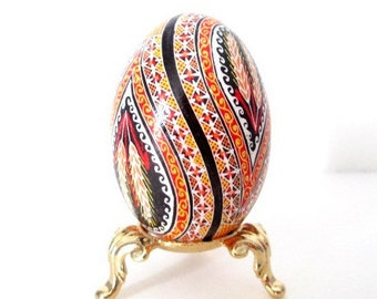 Traditional Pysanka on smaller goose egg beautiful intertwining infinity symbol traditional wheat and runners great gift for a couple