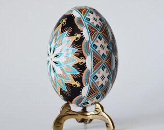 Blue Brown Pysanka batik egg on chicken egg shell Ukrainian Easter egg, hand painted egg