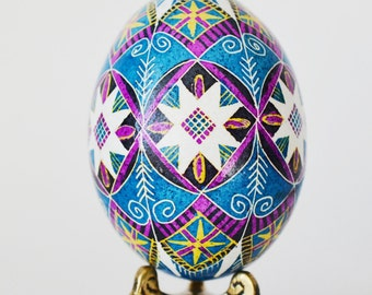 Blue Pysanka empty chicken egg shell Ukrainian egg hand painted by Katya Trischuk gifts for all occasions with unique and spiritual meaning
