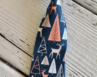 Boys Woodland Necktie, Boys Deer Tie, Baby Tie Photo Prop, Boys Navy Tie, Boys Cake Smash Tie, Boy's Birthday Tie, Boys Tie