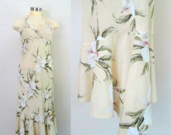 Hawaiian Halter Dress Ruffled Asymmetrical Hem Size Small Vintage Summer