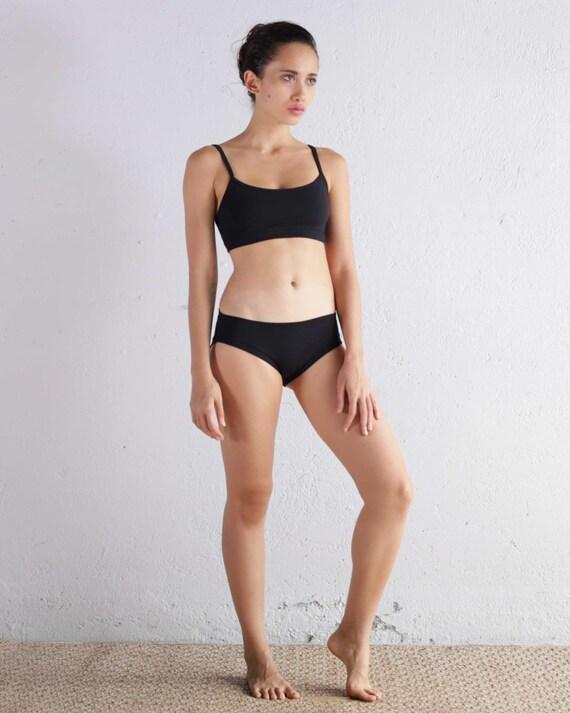 Black Bra Top - Yoga Bra Top - Black Sports Bra - Athletic Wear - Running Bra - Bra Top - Black Yoga Bra - Organic Cotton Bra - Organic Bra