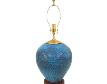 Hollywood Regency Turquoise Blue Pottery Lamp Lava Glaze