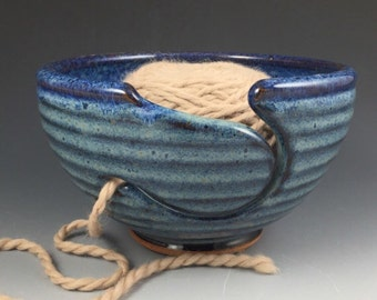 Yarn Bowl -  Large Knitting Bowl - In Stock and Ready to Ship - Ceramic Yarn Bowl - Pottery Yarn Bowl - Blue Yarn Bowl