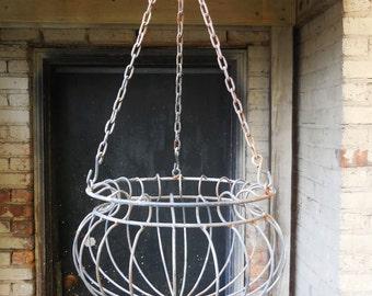 Vintage Hanging basket black rustic metal flower planter  French Country Garden Home plants
