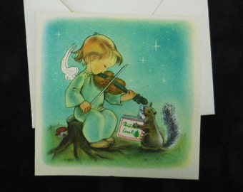 Vintage Christmas card Angel Violin w/ Squirrel Ars Sacra unused square 1940's greeting holiday cards
