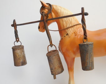 Primitive sleigh bells hand forged horse Harness rustic set of three bells