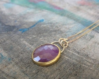 Pink Sapphire Necklace , Sapphire Pendant Necklace  , Sapphire Gold Necklace , Gold Sapphire Jewelry , September Birthstone Jewelry