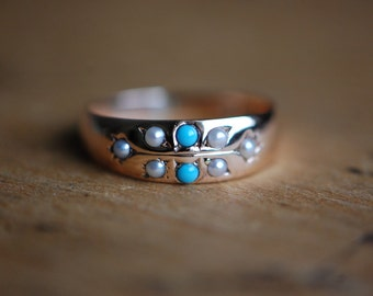 Belle Epoque 9 CT natural pearl and turquoise dress ring