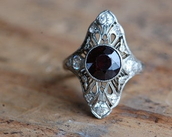 Art Deco 14K filigree diamond garnet dinner ring ∙ Art Deco north south diamond ring