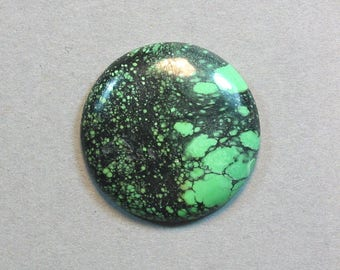 TURQUOISE cabochon round disc 27mm blue green designer cab