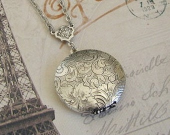 Sterling Silver Plated Locket Necklace Wedding Bride Bridesmaids Wife Anniversary Sister Mother Photo Pictures - Vanessa