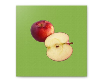 Apples wall art, gallery wrapped canvas, fruit canvas art, apples kitchen decor, greenery, green, red, modern