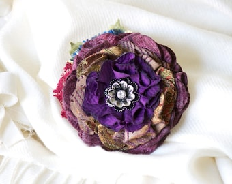 Purple Flower Pin, Pin for Jacket, Scarf Pin, Gift Woman, Unique Gifts Girls, Fabric Flower Brooch, Christmas Gift Women, Sweater Pins