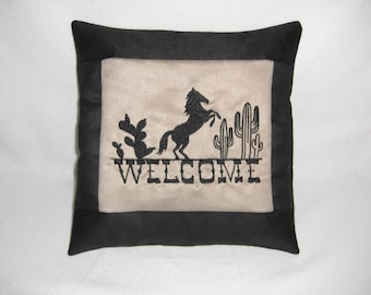 Horse Welcome Embroidered Suede Pillow, Cabin Decor, Lodge Decor, Southwestern Decor, Horses, Decorative Pillow, Accent Pillow, Couch Pillow