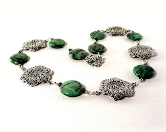 Green Jasper Vintage Styled Necklace and Earring Set - Green Necklace and Earrings