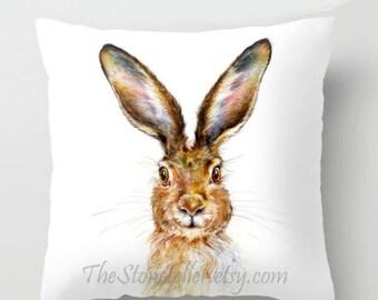 "Pillow ..HARE   PRINT art.. animal art - woodland art - fine art - bunny- childrens room - nursery - babies - """"  rabbit"""""