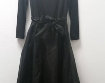 Vintage Party Dress by Eileen West, Black, Size Small/Med 6