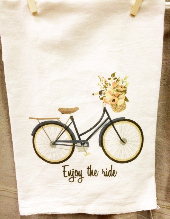 Spring Kitchen Towel, Spring Tea Towel, Flour Sack Towel, Bicycle Towel, Floral Towel, Enjoy The Ride Towel, Housewarming, Spring Decor