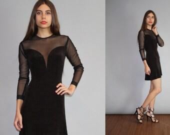 Vintage 1990s Sheer Mesh Deep Plunging V Body Con Goth Clubkid Little Black Dress - 90s  Black Dress - Vintage Little Black Dress  - W00011