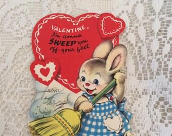 Vintage 1950s Valentine Card Bunny Rabbit Sweeping The Floor With A Broom Collectible Arts Crafts Paper Ephemera Scrap Booking
