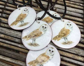 Enamel Owl Necklace, Leather Owl Necklace, Nature Inspired Owl Necklace, Barn Owl Necklace