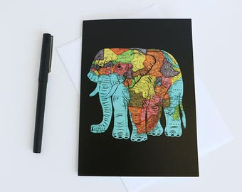 African Elephant Map Art Card // 5x7 Frameable Stationary