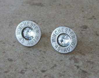 Winchester 45 Auto Nickel Bullet Earring, Lightweight Thin Cut, Clear Swarovski Crystal, Surgical Steel Posts - 403