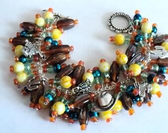 Charm Bracelet, Southwest Bracelet, Chunky Bracelet, Southwest Style, Southwest Jewelry, Turquoise, Brown, Rustic Bracelet - A COWBOYS LIFE