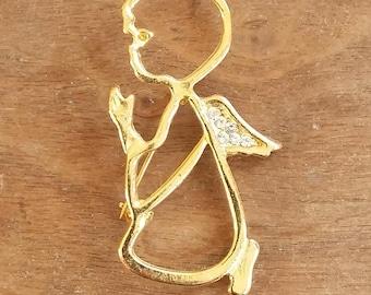 Vintage Brooch Gold Open Work Angel w Rhinestone Wings 70's Fashion Jewelry Guardian Angel