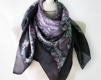 Lace silk scarf - distressed grunge scarf