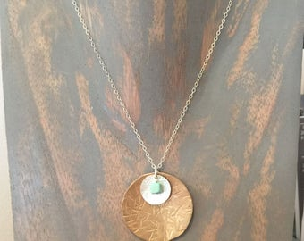Listing for Karen G - Hammered Brass & Sterling Silver Disc Turqouise Howlite Necklace