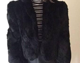 rabbit fur coat black vintage 80s medium avant garde high fashion womens excellent condition jacket M