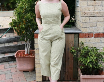Tie Shoulder Jumpsuit - Green - Only 3 made!
