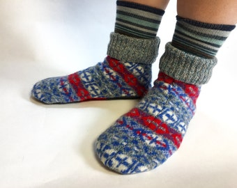 Wool House Shoes, Adult Slippers, Medium, W size 9.5-11, M size 8.5-10.5, Non-Slip Bottom, Ready to Ship, Machine Washable, Wool Shoes