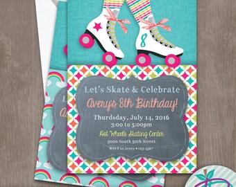 Roller Skate Invitation, Roller Skate Rainbow Invitation, Rainbow Invitation, Roller Skating Birthday Party Printable Invite