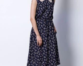 midi dress, Bridesmaid dress, long dress, floral dress, Day dress, evening dress, Collar dress, Womens dress, Casual dress, navy dress