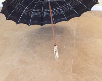 Black And Silver Nylon Umbrella, Large Lucite Handle And Tip, Wood Shaft, Retro Fashion Accessory, Parasol