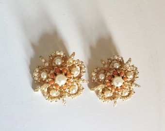 Just in time for summer! - Gold, orange, and pearl - Clip on earrings!