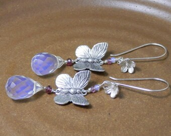 Butterfly with Opalite Briolettes and Amethyst Sterling Silver Earrings