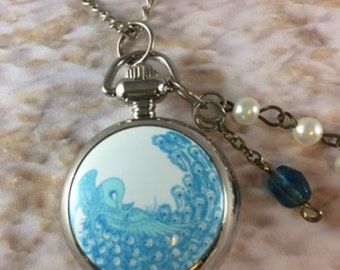 Pocket Watch, Peacock Watch, Watch Pendant, Long Pendant, Peacock Necklace, Gift for Her, Mothers Day, Marie Antoinette, Vintage Wedding