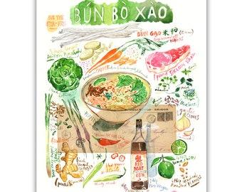 Bun Bo Xao Vietnamese recipe painting print, Kitchen wall decor, Food poster, Asian wall art, Watercolor food Colorful print Vietnamese food